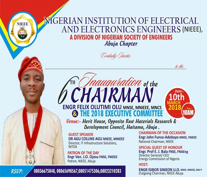 Inauguration ceremony of 6th Chairman of NIEEE Abuja Chapter